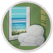 Window To The Sea No. 2 Round Beach Towel