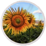 Window To The Sunflower Fields Oil Painting Round Beach Towel