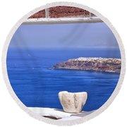 Window View To The Mediterranean Round Beach Towel