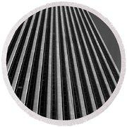 Window Washers View - Black And White Round Beach Towel