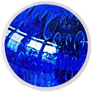 Windows Reflected On A Blue Bowl 3 Round Beach Towel