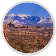 Windows Section, Arches National Park Round Beach Towel