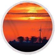 Windpower Sunrise Round Beach Towel