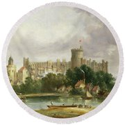 Windsor Castle - From The Thames Round Beach Towel