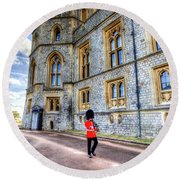 Windsor Castle And Coldstream Guard Round Beach Towel