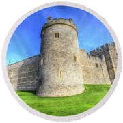 Windsor Castle Battlements  Round Beach Towel