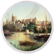 Windsor From The Thames   Round Beach Towel by Robert W Marshall