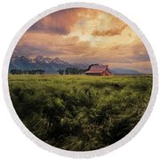 Windstorm On The Prairie Round Beach Towel
