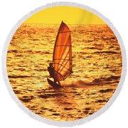 Windsurfer At Sunset Round Beach Towel
