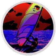 Windsurfer Round Beach Towel by Brian Roscorla