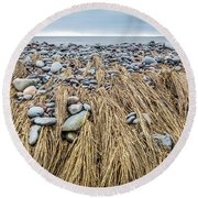 Windswept Grass At Lawrencetown Beach, Nova Scotia Round Beach Towel