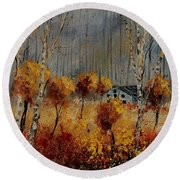 Windy Autumn Landscape  Round Beach Towel