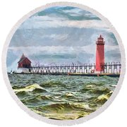 Windy Day At Grand Haven Lighthouse Round Beach Towel