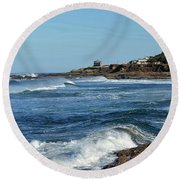 Windy Day At Yachats Round Beach Towel