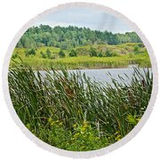 Windy Day In Campground In Saginaw-minnesota Round Beach Towel
