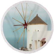Oia Windmill  Round Beach Towel
