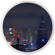 Windy Night Lights Abstract Round Beach Towel