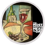 Wine And Cheese Imported Meal Round Beach Towel