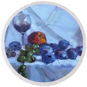 Wine And Fresh Fruits Round Beach Towel