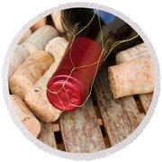 Wine Bottle And Corks Round Beach Towel