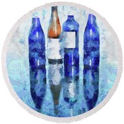 Wine Bottles Reflection  Round Beach Towel