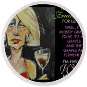 Wine For Lunch Poster Round Beach Towel