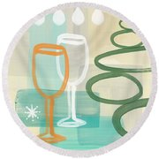Wine For Two Round Beach Towel by Linda Woods