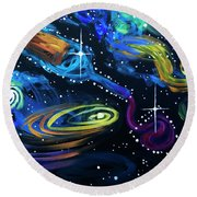 Wine Galaxy Round Beach Towel