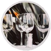 Wine Glasses Round Beach Towel