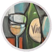 Wine Is Bottled Poetry Round Beach Towel