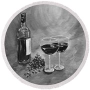 Wine On My Canvas - Black And White - Wine For Two Round Beach Towel