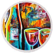 Wine Lovers Abstract Round Beach Towel