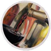 Wine Pour II Round Beach Towel by Donna Tuten