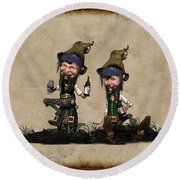 Wine Time For The Leprechauns  Round Beach Towel