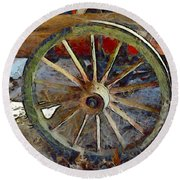 Wine Wagon Wheel Round Beach Towel