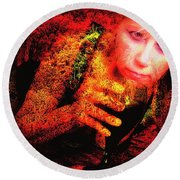 Wine Woman And Fall Colors Round Beach Towel