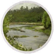 Winery River Round Beach Towel