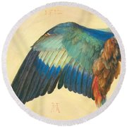 Wing Of A Blue Roller 1512 Round Beach Towel