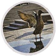 Winged Bird Round Beach Towel