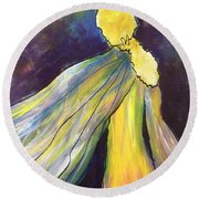 Winged Goddess Update Round Beach Towel