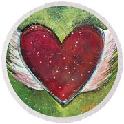 Winged Heart Number 1 Round Beach Towel
