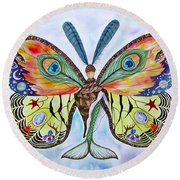 Winged Metamorphosis Round Beach Towel by Lucy Arnold