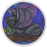 Winged Panther Kitten Cub Round Beach Towel