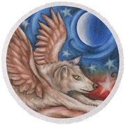 Winged Wolf In Downward Dog Yoga Pose Round Beach Towel