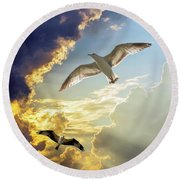 Wings Against The Storm Round Beach Towel
