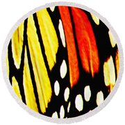 Wings Of A Monarch Butterfly Abstract Round Beach Towel