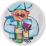 Wining Chef Round Beach Towel