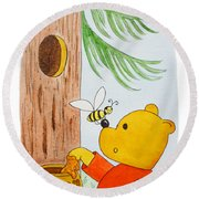 Winnie The Pooh And His Lunch Round Beach Towel