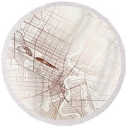 Winnipeg Street Map Colorful Copper Modern Minimalist Round Beach Towel