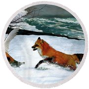 Winslow Homer's, 1893 ' The Fox Hunt ', Revisited 2016 Round Beach Towel